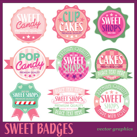 cotton: SWEET BADGES WITH WHITE BACKGROUND