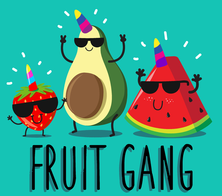 funny fresh fruit gang characters, happy gang members