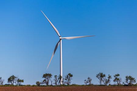 KANSAS: Wind turbine in a Kansas field.