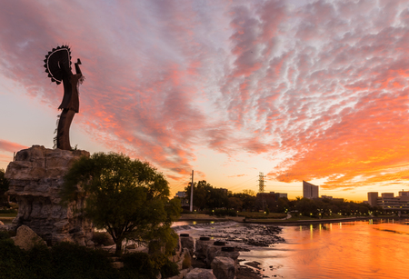 cloudscapes: Keeper of the Plains in Wichita, Kansas. Stock Photo