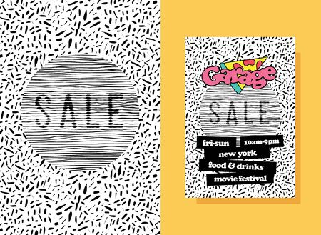 Garage sale poster template design. Pop-art shapes Sale design background. Minimal backdrop event flyer. Original promotion ad poster.