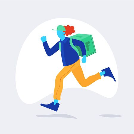Running boy carry box. Delivery service. Original vector illustration. Courier boy delivery man holding a package and running fast.