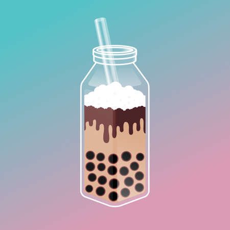 Bubble tea ads with delicious tapioca and jelly. Boba tea illustration design for Milk Tea Ads template. Isometric glass bottle with straw. Pearl milk tea, Yummy drinks, Taiwan milk tea, coffees and soft drink