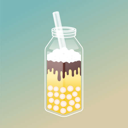 Bubble tea ads with delicious tapioca and jelly. Boba tea illustration design for Milk Tea Ads and template. Isometric glass bottle with straw