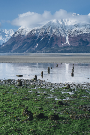 Old Ruins of Port Dock Revealed at Low Tide on Remote Alaska Beach During Springtime with Sunny Skies and Large Mountains Stock Photo