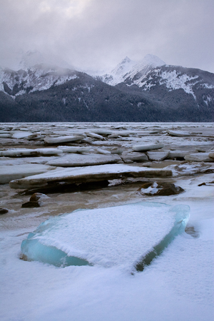 Vast Riverbed in Mountain Landscape with Broken Ice