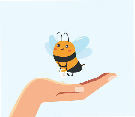 The illustration shows a cute bee. Cute childish character. Rescue of bees in human hands. Cute bee in the palm of a man. The salvation of the planet is in the hands of man.