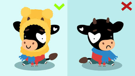 Cute animal bulls or cows sit one in the others hat without showing how to wear a warm hat.