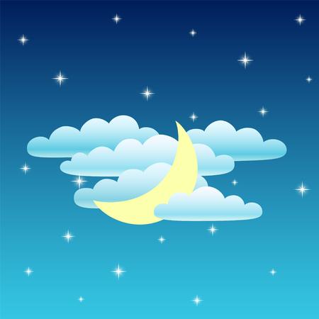 夜の空。月と雲と星。ベクトル図