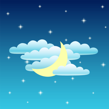 Nightly sky. Moon, clouds and star. Vector illustration
