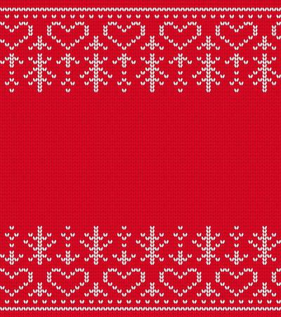 Knitted seamless pattern christmas handmade red border background vector illustration