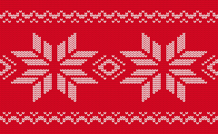 Knitted seamless pattern christmas handmade red jacquard border background vector illustration Иллюстрация