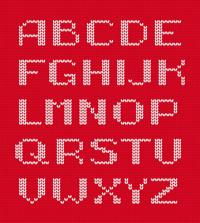 Knitted alphabet vector. White letters on red knitted background. Stock Illustratie