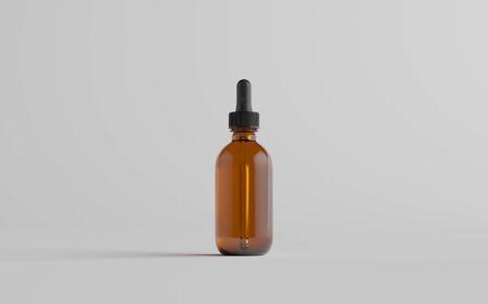 Amber Glass Dropper Bottle Mockup - One Bottle. 3D Illustration