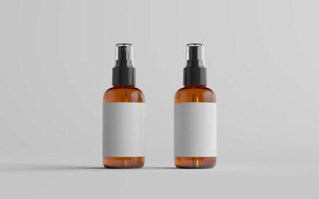 Amber Spray Bottle Mockup - Front & Back. Blank Label