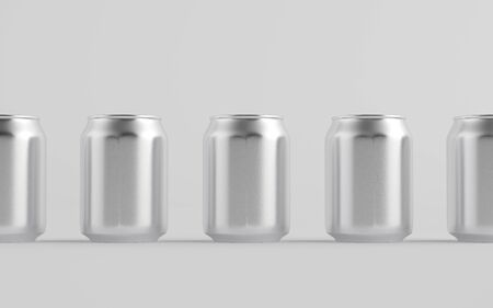 8 oz. / 250ml Stubby Aluminium Beverage Can Mockup - Multiple Cans. 3D Illustration