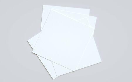 Square Flyer Mock-Up - Multiple Flyers. 3D Illustration