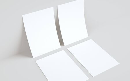 A4 Flyer / Letterhead Mock-Up - Two Flyers Against Wall Background. 3D Illustration