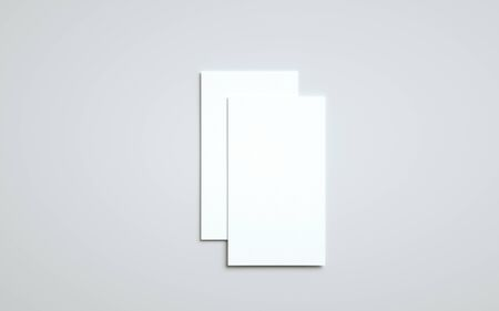 Business Card Mock-Up (US 3.5 x 2) - Two Overlapping Cards. 3D Illustration