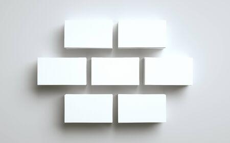 Business Card Mock-Up (US 3.5 x 2) - Five Stacks of Cards. 3D Illustration Banque d'images