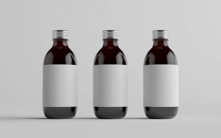 Cold Brew Coffee Amber / Brown Medium Glass Bottle Packaging Mockup - Three Bottles. Blank Label