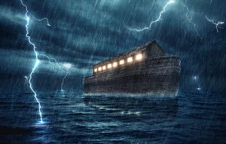 Noah's ark during a rain and lightning storm.