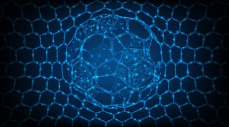 The ball is in the center of the net of the football goal. Low-poly vector illustration. Blue background. Çizim