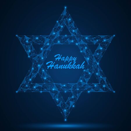 Happy Hanukkah. star of David. A low-poly model of a geometric shape. Vectores