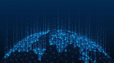 Globale Karte der Welt. Datenübertragungstechnik. Polygonales Modell des Globus. Blauer Hintergrund. Vektorgrafik