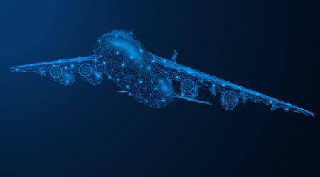 Flying passenger or cargo aircraft. Low-poly model of air transport. Blue background. Illusztráció