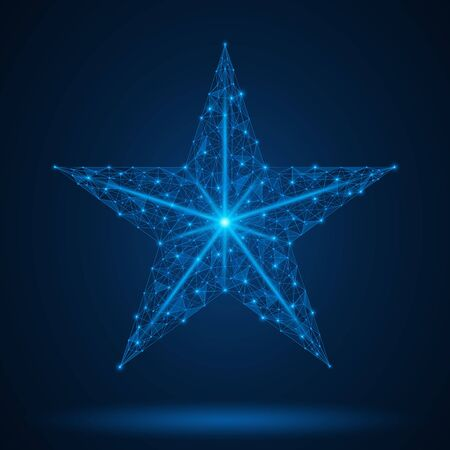 Five-pointed star, symbol of victory. A low-poly model of a geometric shape. Blue background.