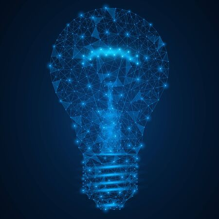 Bulb. A low-poly model of an artificial light source. Blue background.