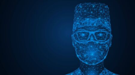 A man in a mask and glasses. Face protection from viruses and air pollutants. Polygonal design. Blue background. Ilustração