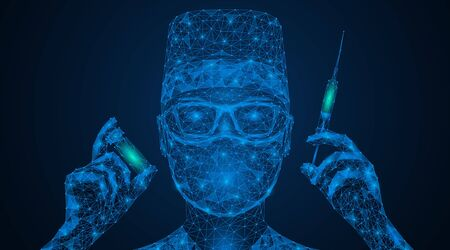 Virus vaccine. A doctor in a medical mask and glasses with a syringe and medicine in his hands. Provide medical care. Low-poly design. Blue background.