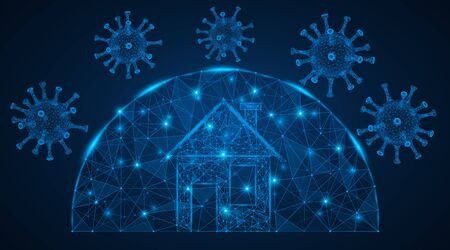 Home under the dome. Protection against virus and infection. Low-poly design. Blue background.  イラスト・ベクター素材
