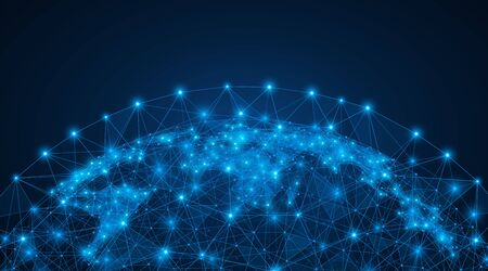 Polygonal map of the world. The concept of a global digital network. Structure of the particle system. Blue background. Illusztráció