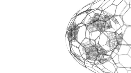 Soccer ball in the goal net. Sports equipment. Low-poly illustration.