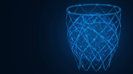 A basketball in the basket net. Low-poly vector illustration consisting of lines and points. Illusztráció