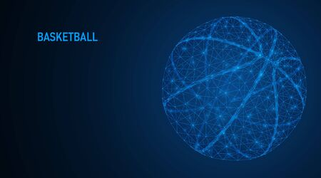 Abstract a basketball. The structure of the connection of lines and points form a ball on a dark blue background. Low-poly vector illustration.