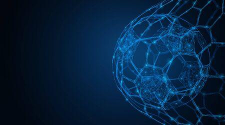 Soccer ball in the goal net. Sports equipment. Low-poly 3d vector illustration. Illusztráció