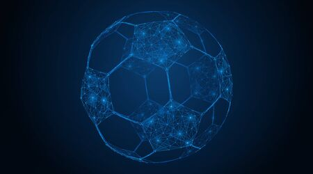 Abstract polygonal soccer ball. A low-poly grid of lines and dots forms a football symbol. Blue background. Çizim