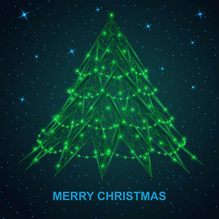 Merry Christmas. A low-poly green Christmas tree against the starry sky.