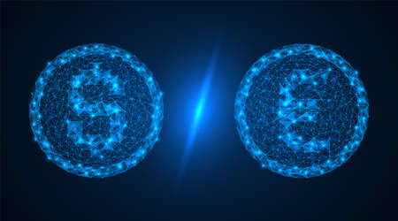 USD vs EUR coins. Currency competition. Polygonal construction of two coins. Blue background.