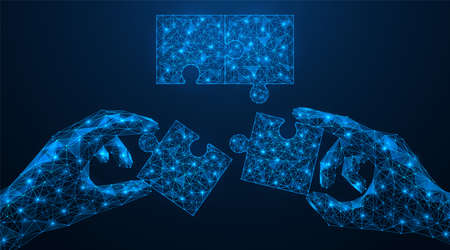 Team solution of tasks. The joint Assembly of the puzzle. The concept of business consolidation. Polygonal construction of human hands. Blue background.