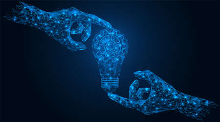 Light bulb in hand. The concept of a joint business idea mechanism. Low-poly construction of concatenated lines and dots. Blue background.