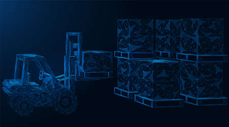 A forklift truck transports and stacks cargo. Polygonal construction of thin connected lines. Blue background.