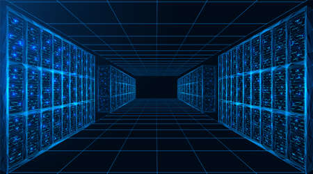 Data center. A room with servers for digital processing and storage of information. Polygonal construction of connected lines and points. Blue background.