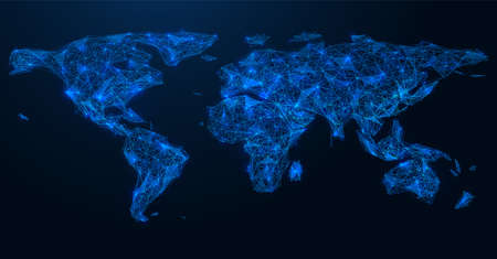 Global social network connection map. Polygonal map of the world. Concatenation of lines and points. Blue background.