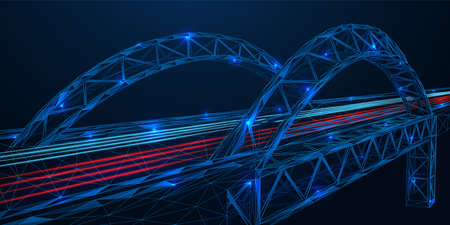 Futuristic road bridge. Freeway. The effect of night lights. Low-poly construction of thin interlocking lines and dots. Blue background.