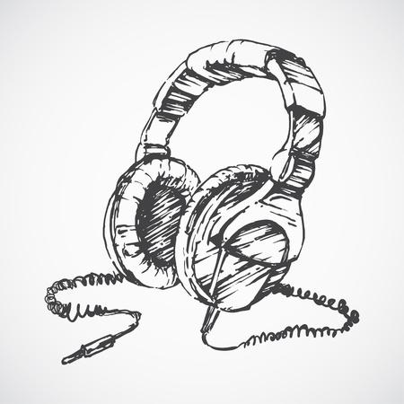 Sketched headphones Illustration